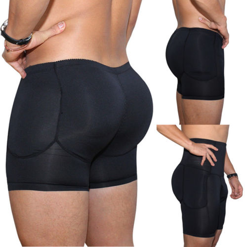 Hot Sale Causal High Waist Men Boxer Padded Butt Booster Enhancer Boyshort Flat Stomach Shapewear  Plus Size S-3XL