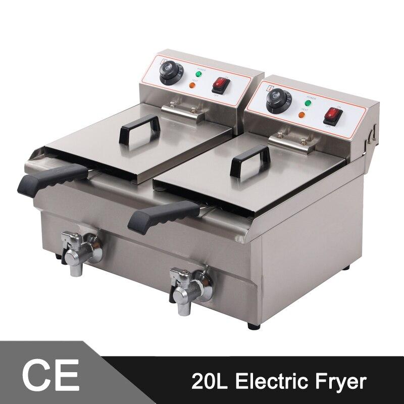20L Twin Tanks Stainless Steel Deep Fryer _ Commercial Electric Fryer _ Fryer