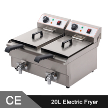 20L Twin Tanks Stainless Steel Deep Fryer _ Commercial Electric Fryer _ Fryer