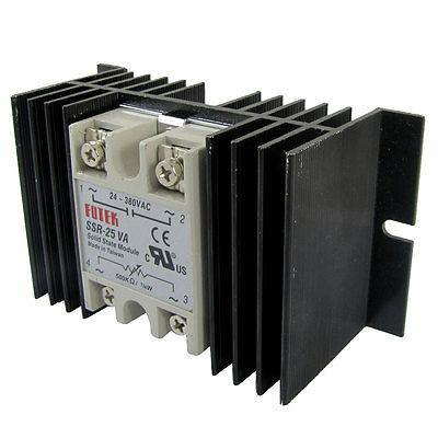 Single Phase Solid State Relay SSR-25VA 25A 24-380V AC 500K Ohm + Heat Sink high quality ac ac 80 250v 24 380v 60a 4 screw terminal 1 phase solid state relay w heatsink