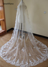 2019 New White Wedding Veils Flower Lace Edge Soft Tulle Cathedral Long Romantic Wedding Bridal Veil With Comb