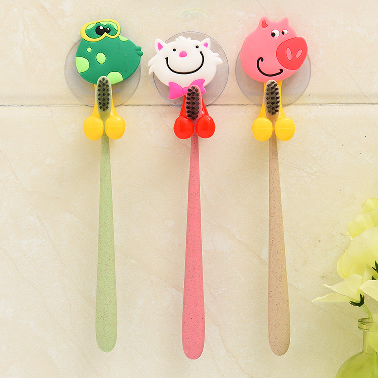 Animal Cute Cartoon Suction Cup Toothbrush Holder Bathroom Accessories Set Wall Suction Holder Tool