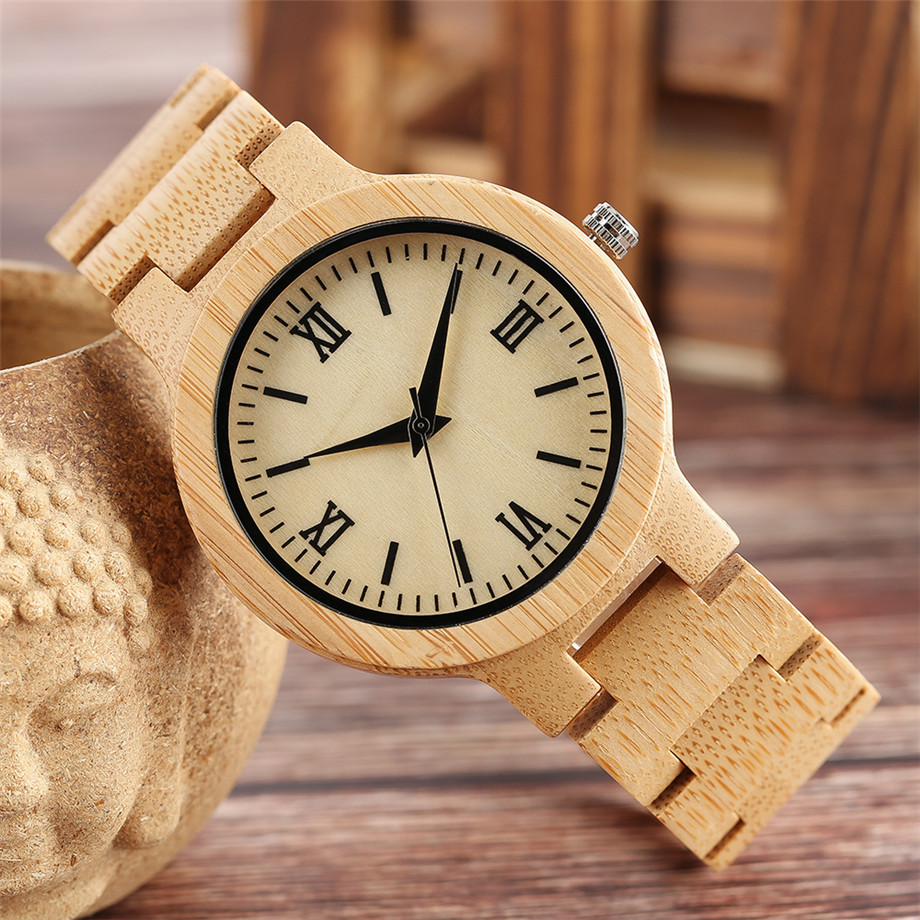 Bamboo zebra wood watch roman numerals dial ladies watch09