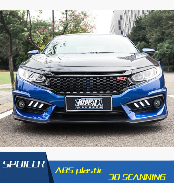 For Honda Civic Bake Chromed Front Mesh Grilles Fit For Civic Front Bumper  Grille Automobile Exterior