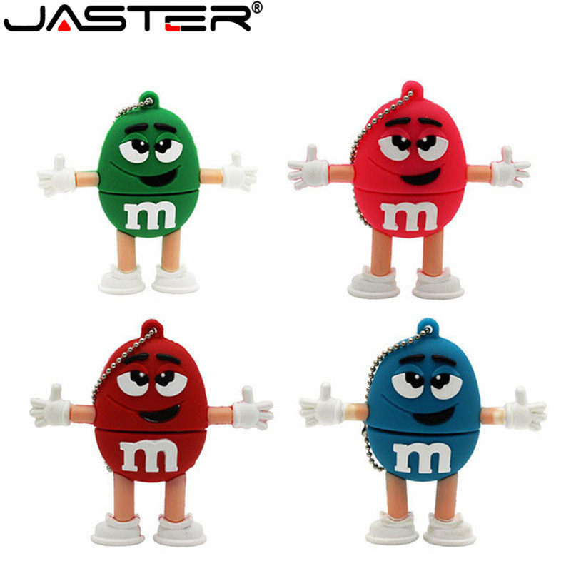JASTER  The New Cute M&M's  USB Flash Drive USB 2.0 Pen Drive Minions Memory Stick Pendrive 4GB 8GB 16GB 32GB 64GB Gift