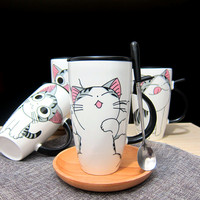 The Glass Ceramics With The Cat Straw Personality Coffee Cup Super Capacity Mug With Cover Glass