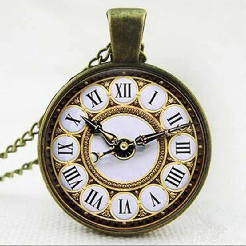 Watch Đồng Hồ Pendant Chuỗi Vòng Cổ Bằng Đồng Tuyên Bố Dài Neckless Cabochon Jewelry Cỗ Máy Thời Gian Hình Ảnh Mùa Hè Phong Cách Choker