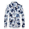 2017 new style Men's leisure fashion flower color long sleeve shirts, men's high quality long sleeve shirts men Free shipping