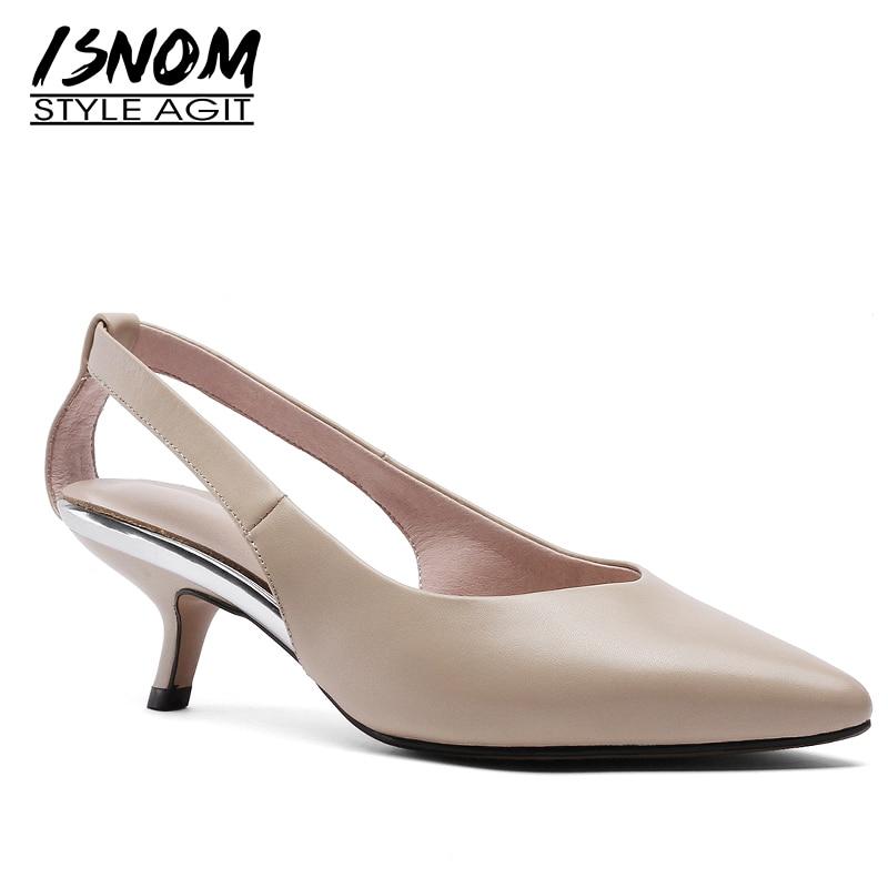 Isnom 고양이 하이힐 펌프 여성 지적 발가락 신발 패션 파티 신발 여성 정품 가죽 신발 여성 여름 2019 새로운-에서여성용 펌프부터 신발 의  그룹 1