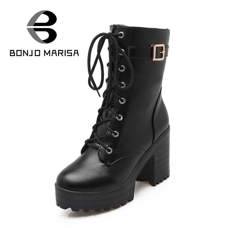 ФОТО BONJOMARISA Big Size 34-43 Women Mid Calf Boots Fashion Buckle Design High Heels Shoes Women Winter With Fur Warm Boots