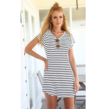 Striped Beach Dress fashion collar swallowtail dress Summer new womens simple slim round neck striped short-sleeve