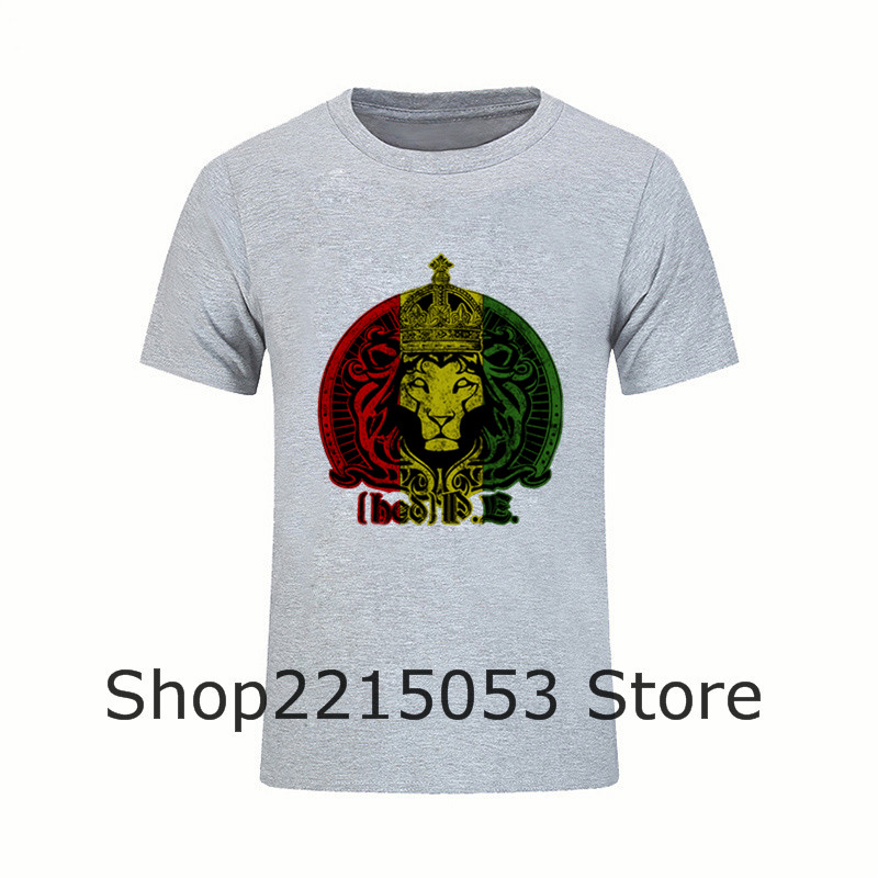 fa863601 Great Discount O Neck Male Tees T Shirt Funny Men's Judah Rasta King Raggae  Lions Neck