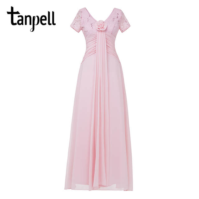 Tanpell long evening dress champagne short sleeves a line ankle length  flowers dresses cheap v neck 658c921a0b6