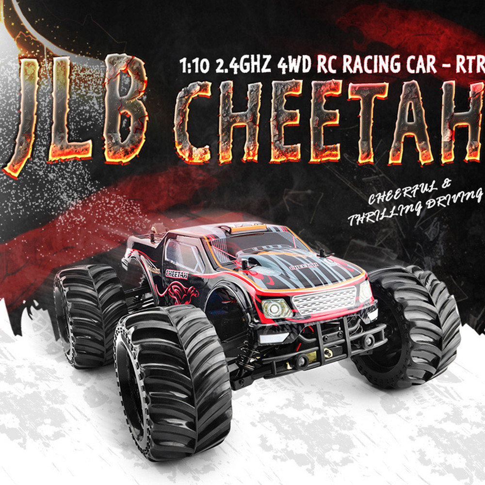 JLB Cheetah RC Cars 2.4G 4WD 1 / 10 80km / H High Speed Buggy RC RTR Car 4 Wheel Drive Design Brushless Motor Big Foot Trucks jlb racing cheetah 1 10 brushless rc car truggy 21101 2pcs wheel