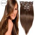 Caliente Clip en pelo brasileño del pelo humano extensiones de cabello reales de américa Remy Clip en extensiones de cabello 70 g - 220 g 8 unids/set Medium Brown #4
