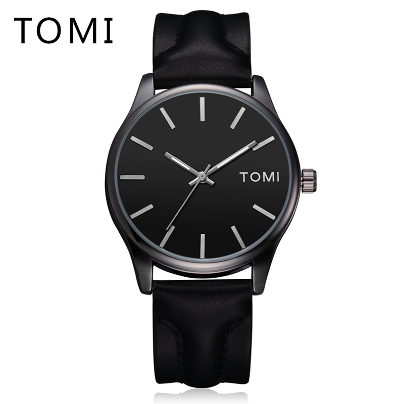 Tomi Mens Watches Top Brand Luxury Steel Leather Strap Men Quartz Watch Fashion Business Clock Male Wristwatches Sport Watch mens watch top luxury brand fashion hollow clock male casual sport wristwatch men pirate skull style quartz watch reloj homber