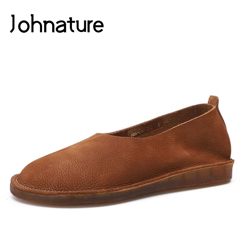 Johnature 2019 New Summer Genuine Leather Round Toe Retro Shallow Slip On Soft Sole Women Shoes