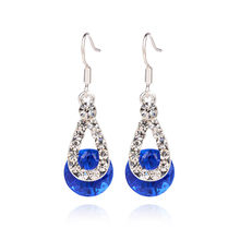 Big Crystal Pendant Fashion Long Paragraph Brilliant Drop Earrings 10.4(China)
