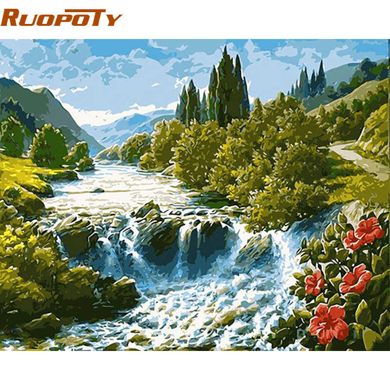 RUOPOTY Frame Mountain River Landscape DIY Painting By Numbers Modern Wall Art Picture Home Decor Hand Painted Oil Painting