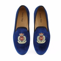 New Fashion Men Blue Velvet Casual Loafers With Crown Slip On Dress Shoes Smoking Slippers British