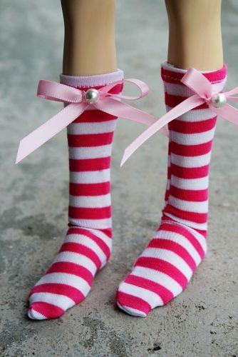 wamami 11 Pink Stripe Socks Stockings 1 4 MSD DOD BJD Dollfie