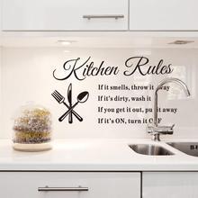 Waterproof Sink Wall Kitchen Rules Sticker Removable Adhesive Vinyl Wallpaper Mural decals art decor 33x60cm Hot