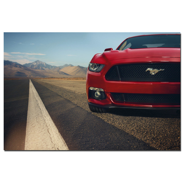 Ford Muscle Red Ford Mustang Poster Canvas Cloth Fabric Print For Home Decor  Wall Art Poster