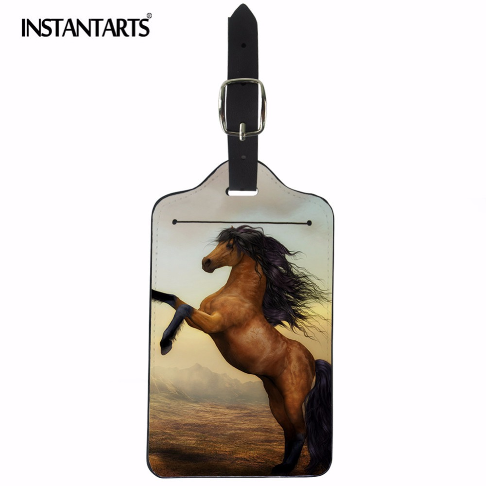 INSTANTARTS Carzy Horse 3D Printing Trvelling Rectangle Luggage Tag ID Address Holder Label Travel Accessories Baggage Name Tags