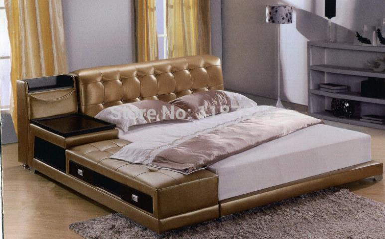 A8806b Modern Bedroom Furniture Leather King Size Soft Bed Extra