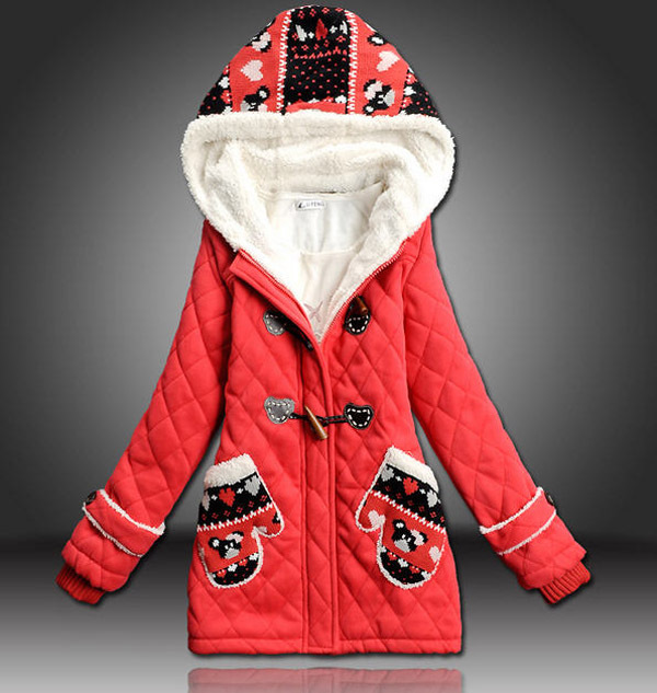 2014 Female Student Autumn And Winter Medium-Long Thick Warm Cotton Padded Jacket WomenS Slim Hooded Print Parkas H2967