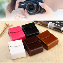 Hoge Kwaliteit PU Camera Tas Leather Case Voor Canon IXUS 285 265 245 240 230 220 190 185 182 180 177 175 170 162 160 132 130 G7X(China)