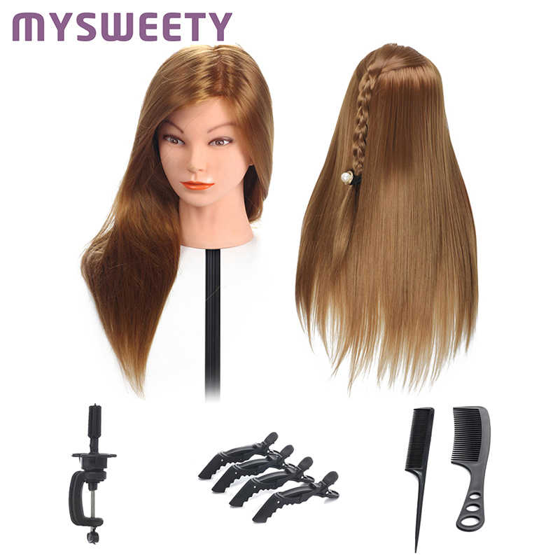 20 Inch Hairdressing Dolls Head Practice Training head hair Cosmetology Hair Styling Mannequins with Practice Tools