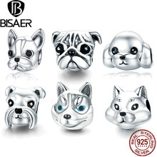 Dog Charm 925 Sterling Silver French Bulldog Charms Schnauzer Huskie Poodle Dog Beads Fit Original Bracelet DIY Jewelry Making