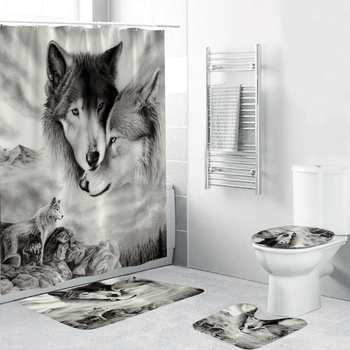 White Wolf Printing Bathroom Curtain Set With 12 Hooks Made Of Polyester Material For Toilet Window