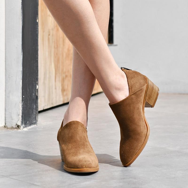 BeauToday รองเท้าผู้หญิงส้นสูงรอบ Toe ซิป Handmade หนังวัวแท้หนังนิ่มข้อเท้า Boot ฤดูใบไม้ผลิฤดูใบไม้ร่วงรองเท้า 03315-ใน รองเท้าบูทหุ้มข้อ จาก รองเท้า บน   2