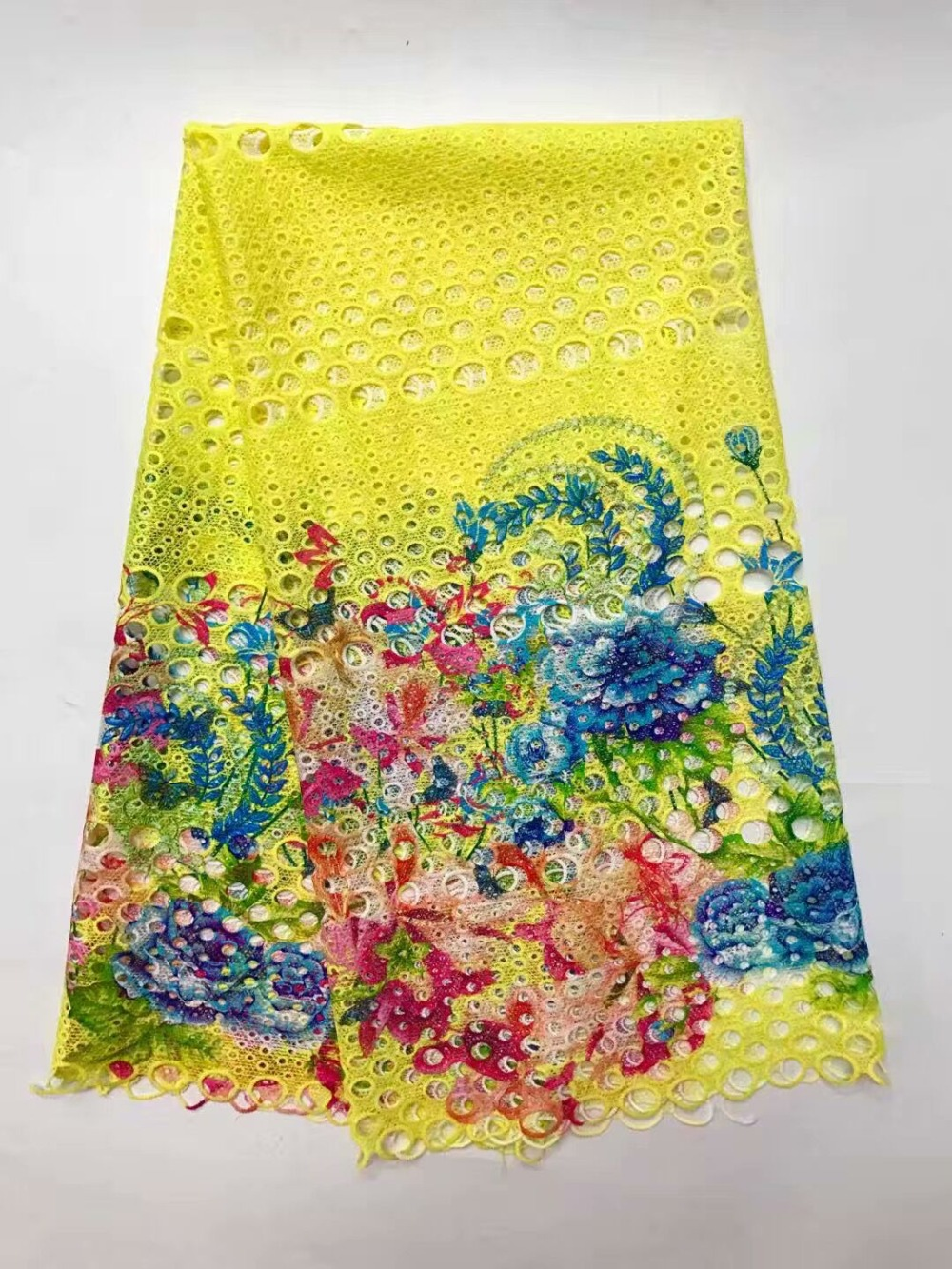 High Quality African Lace Fabric Latest African Guipure Lace Yellow Green White Blue Color Nigerian Guipure