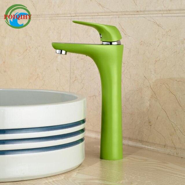 Miscelatore Per Lavabo Da Appoggio.Us 69 9 44 Di Sconto Unico Colore Verde Bacino Vanity Sink Faucet Sightly Single Handle Lavabo Da Appoggio Miscelatore Un Foro In Unico Colore Verde