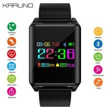 KARUNO Homens Multifuncional Relógio Digital Inteligente Bluetooth Assista relógio de Pulso Dos Homens Clássico Preto Ultra-fino Masculino Relógio Para IOS Android