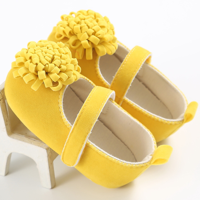 Flowers Yellow Baby Girl Shoes Princess Toddler Shoes Newborn Gift Soft Soled 0-18 Months