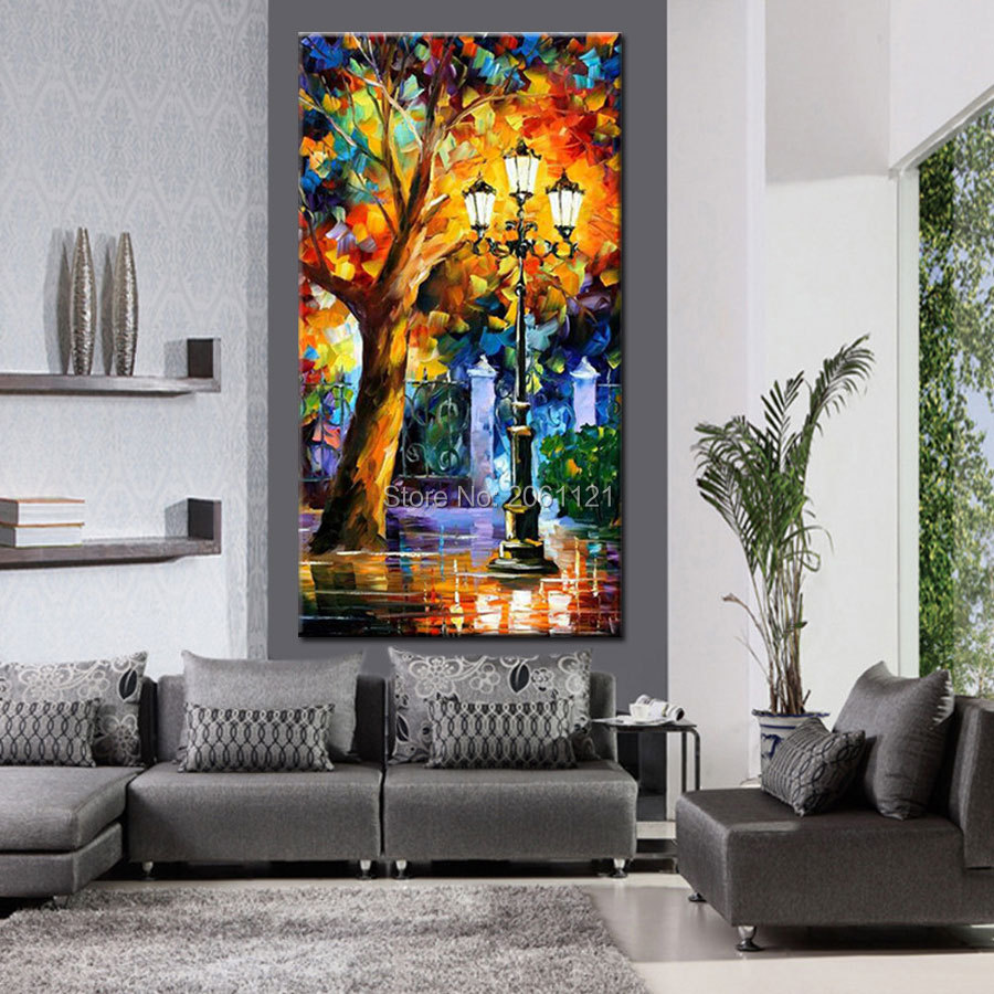 abstract bright night landscape canvas wall art Tree and lampposts palette knife oil painting street cornor scenery picture in Painting Calligraphy from Home Garden