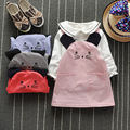 2016 new spring autumn Baby Set girl lace cotton suit Cartoon T-shirt + strap dress 2pcs sets children Brands suit free shipping