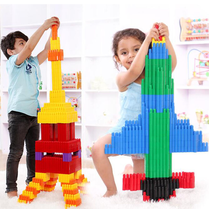 132pcs Kids Plastics Bullet Plug Match Building Blocks Educational Toys For Children Funny Bricks Assembling Rail Cars Brocks dayan gem vi cube speed puzzle magic cubes educational game toys gift for children kids grownups