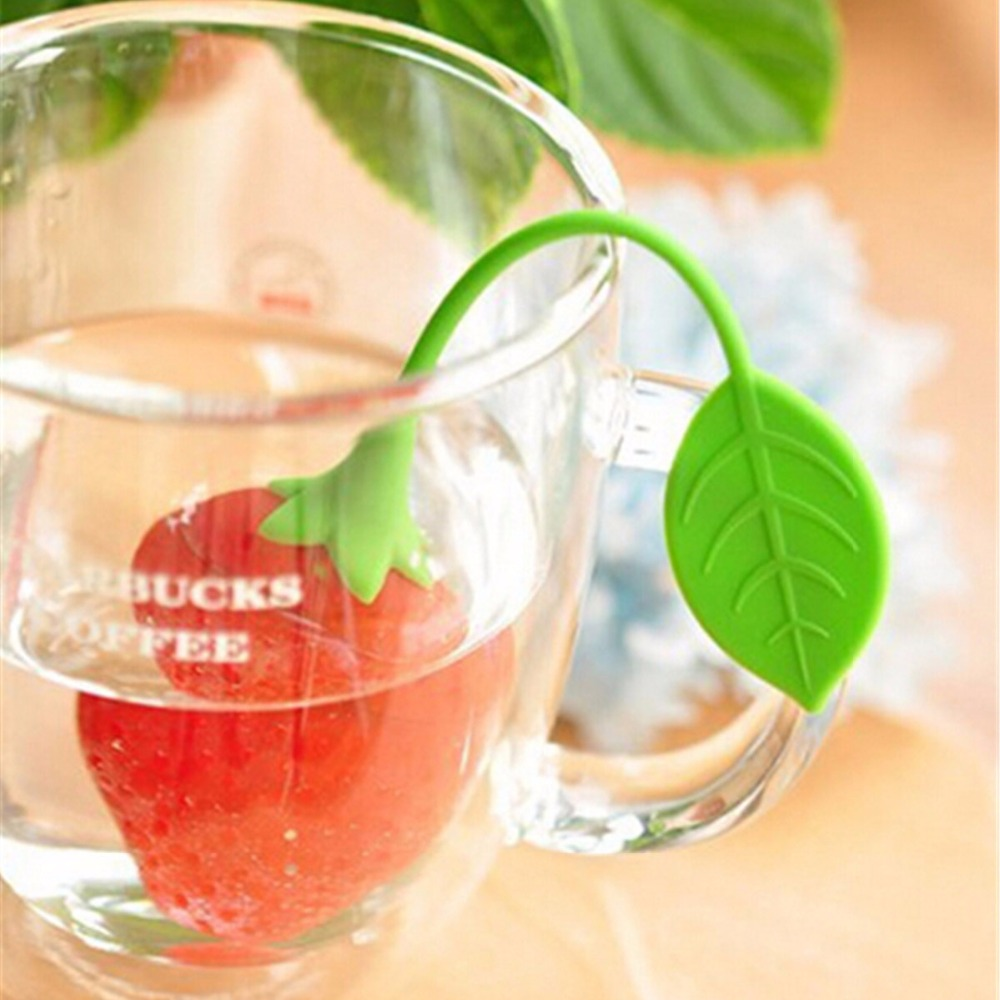 Strawberry Shape Silicone Tea Infuser Mesh Tea Pot Infuser Filter Loose Tea Leave Bag Holder Strainer Kitchen Bar Tool Drinkware