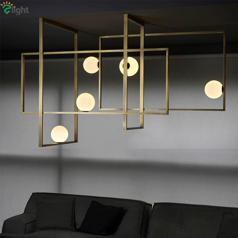 Luxury Metal Rectangle G4 Led Chandelier Black / Gold L80/L120cm 5 Light Ceiling Chandelier Lighting Led Luminarias Fixtures