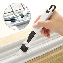 Multipurpose Practical Window Door Keyboard Groove Cleaning Brush Cleaner Dustpan 2 In 1 Household Tool Random Color