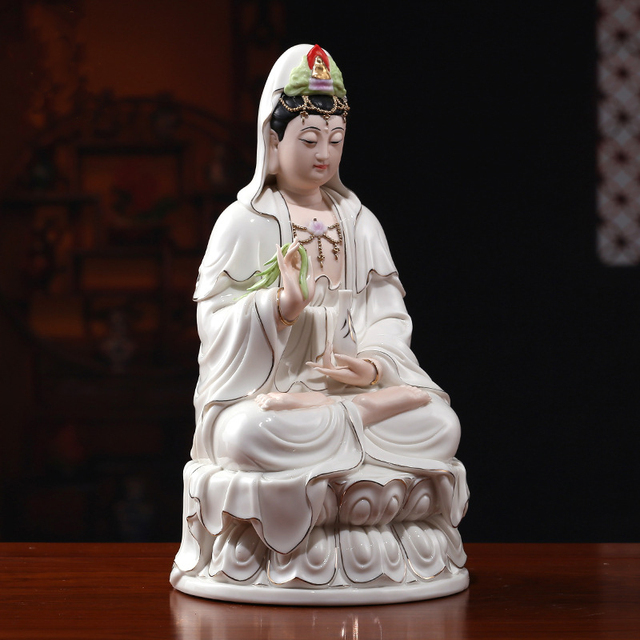Guan Yin Statues Buddha Sculpture Goddess Of Mercy Guanyin White Porcelain  Figurine Buddhism Style Chinese Culture
