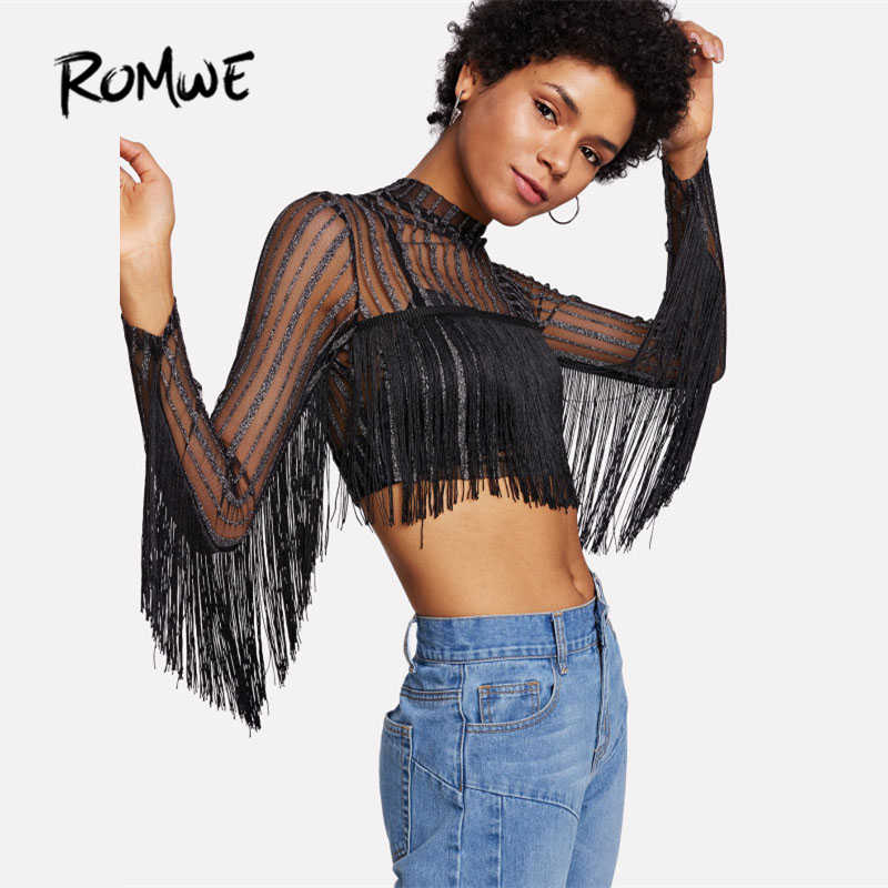 ... ROMWE Black Fringe Striped Glitter Mesh Top Spring Stand Collar Long  Sleeve Sheer Sexy Crop Top ... b05e5379f637