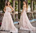 Sweetheart Bridal Gown Lace Tulle Lace Beading Belt Blush Pink Color Accent Wedding Dress H173906