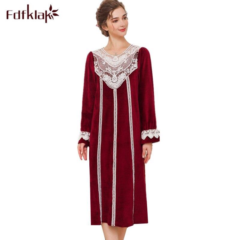 56fc4eef Cheap Fdfklak camisones dulces de mujer de manga larga camisón femenino  ropa de dormir larga princesa