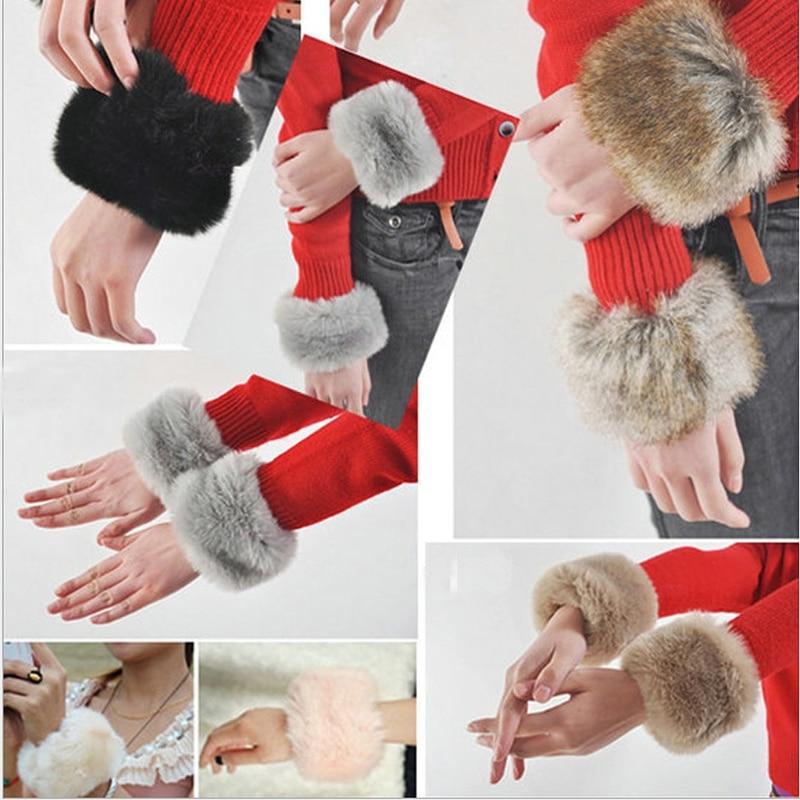 1pair Women Winter Wrist Warmer Oversleeve Faux Fur Windproof Arm Bracelet Wristbands Arm Sleeves Attractive Appearance Apparel Accessories Women's Accessories